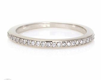 White Sapphire Wedding Band Sapphire Anniversary Band 14K 18K Gold Platinum Palladium Sapphire Ring Stacking Ring