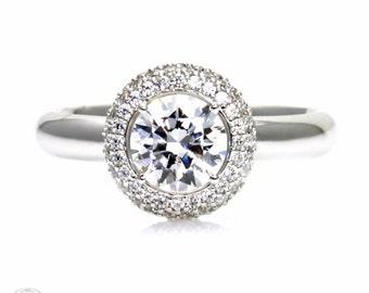 Pave Diamond Halo White Sapphire Engagement Ring Sapphire Ring  Custom Bridal Jewelry