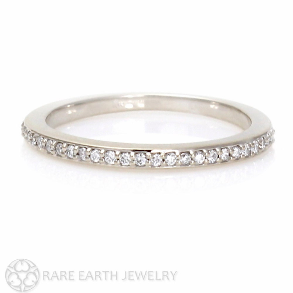white sapphire band white sapphire wedding rings White Sapphire Wedding Band Sapphire Anniversary Band 14K 18K Gold Platinum Palladium Sapphire Ring Stacking Ring