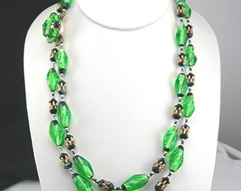 Green Foiled Art Glass Beads Necklace, Two Strands, Art Deco, Made in Japan, Vintage Costume Jewelry Mid Century c1950, Clearance Item