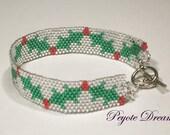 Christmas Holly peyote bracelet