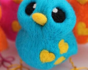 Needle Felted Blue Bird Bright Turquoise BIrd