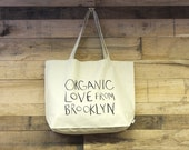ORGANIC LOVE from BROOKLYN Organic Cotton Twill Large Tote Bag