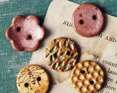 Spring Garden- handmade ceramic buttons