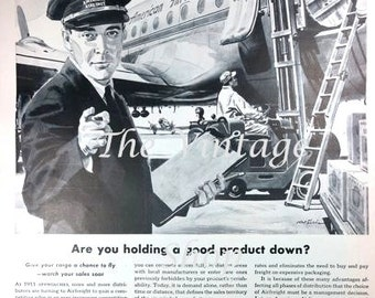 American Airlines Airfreight 1950s Large Vintage Advertising E123