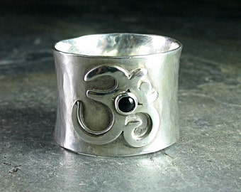 Ohm Ring, meditation ring, yoga jewelry, black onyx, wide band sterling silver - Peaceful Mind