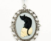 Gothic Spooky Morbid Black Cat and Skull Big Dramatic Black, White and Blue Cameo Necklace with Silver Setting by Velvet Mechanism