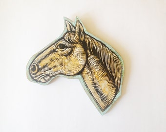 Art, Horse Wall Art, Horse Head Painted Woodblock Print Mounted on Wood, Home Deco, Made to OrderArt
