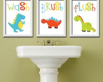 Dinosaur BATHROOM Wall Art   Dinosaur Theme Bathroom   CANVAS Or Prints    Dino Wash Brush