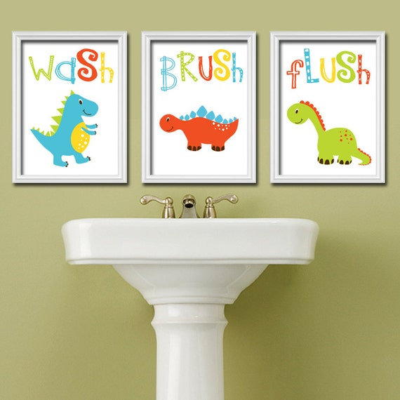 Dinosaur bathroom wall art dinosaur theme bathroom canvas for Bathroom decor etsy