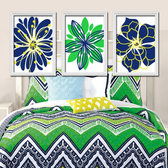 Navy Blue And Green Wall Decor : Navy blue green wall art bedroom canvas or prints by trmdesign