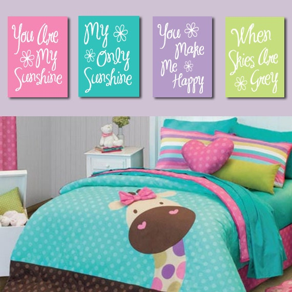 Items similar to you are my sunshine wall art canvas or - Turquoise and pink bedroom ...