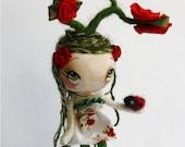 Rose Doll Ladybug Friend OOAK paper Mache Nature Girl Flower Red Roses