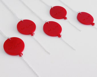Balloon Necklace - Happy Face Red Acrylic Pendant on a Silver Chain