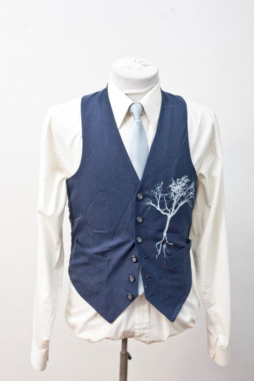 herren anzug weste upcycled vintage blue vest mit schirm. Black Bedroom Furniture Sets. Home Design Ideas