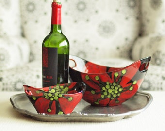 Snack Set - Red Poppy Large& Small Handle Bowls, Set of Two - Colorful Pottery for Entertaining Friends Serving Home Decor Hostess Gift