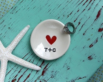 Engagement Ring with Heart, Heart Design Engagement Ring Dish, Personalized Mini Ring Dish with Heart and Initials, Custom Heart Ring Dish
