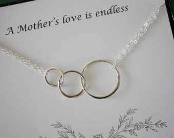 Mother Infinity Necklace, BFF, Infinite Friendship, Sterling Silver, Karma, Circles, Thank you card