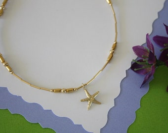 Gold Anklet Starfish Charm, Beach Anklet Charm, Choose your Charm Anklet, Charm anklet