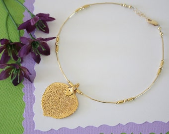 Anklet Gold Aspen Leaf, Gold Leaf, Real Leaf, Gold Anklet, Bridesmaid Gift, Mom Gift