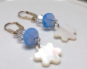 White Flower Earrings with Periwinkle Blue Beads and Crystals