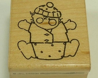 Baby In Diapers Wood Mounted Rubber Stamp By JRL Designs