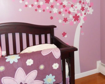 Floral Tree Wall Decal Kids Wall Decal Flower Tree Nursery Vinyl Wall Decal Wall Sticker Flowers Blowing in the Wind