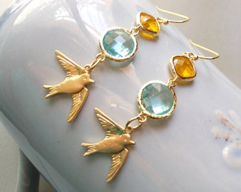 Swallow earrings in gold long glass drop earrings with aquamarine blue & sunflower yellow gold framed glass jewels dangle earrings for women