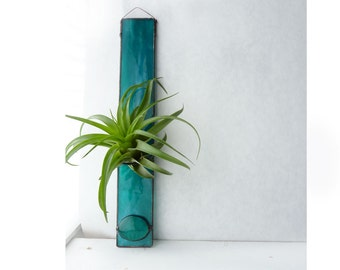 Stained Glass Air Plant Holder - Blue Green