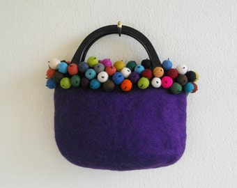 Purple felt bag with colourful felt beads, wool hand bag, funky, multicolor,  blue, green, orange, black, yellow, brown, by creationsbyeve