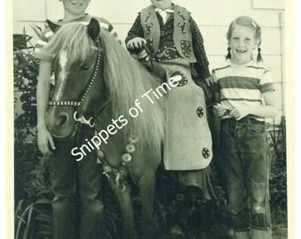 SHETLAND PONY and CHILDREN - Vintage Black and White Photograph