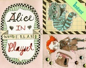 INSTANT Mini Paper Alice's Friends Playset - Mad Hatter - White Queen - White Rabbit - Cheshire Cat - Bandersnatch - Frog Footmen