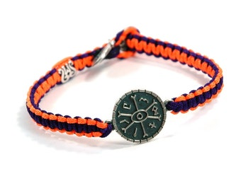 Unisex Silver Opportunities Amulet Bracelet and Signature Button on Two Tone Orange Purple Parachute Chord