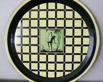 Vintage 1920's Tin Litho Art Deco Dancer Serving Tray