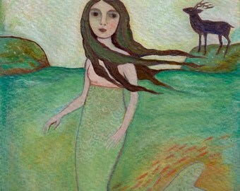 Art Print, folk art, gallery art, wall decor, Mermaid, ocean, water, fairytale, selky, woman