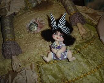 Vintage Bisque Kewpie Doll Flapper Bathing Beauty Altered Art Purple Flower Girl