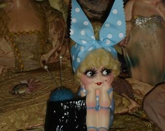 Kewpie Doll Bathing Beauty Pincushion Vintage Planter Repaint Blonde Hair