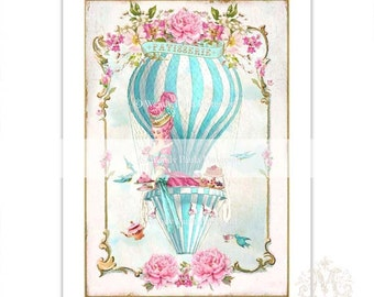Marie Antoinette, print, hot air balloon, vintage illustration, vintage decor, high tea, pink roses, blue, French, tea print, home decor