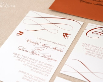 Outdoor Wedding, Calligraphy Flourish Wedding Invitations- Swallows Wedding Invitation Sample Pack