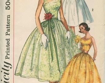1950s Dress Simplicity 2089 Sewing Pattern Vintage Size 13 Full Rockabilly Skirt Evening Gown Cummerbund
