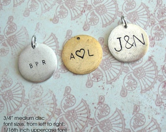 One Word, Date or Name. Medium Disc. Circle Pendant Charm. Customize, Personalize, Monogram, Metal Tag, Antiqued Gift, Unique, Couples, Kids