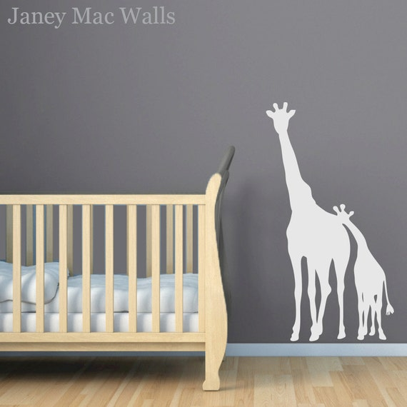 Giraffe Wall Decal Childrens Jungle Safari Sticker Room Decor Wall Sticker Mom and Baby Giraffe Vinyl Decal- CA101