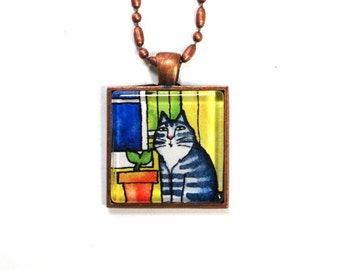 SALE... Cat Jewelry/ Maine Coon Tabby Cat Pendant in Copper Setting