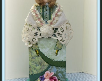 Chelsea Handmade Mixed Media Victorian Collage Art Doll Decoration