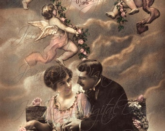 Propos d'Amour, About Love,  Cherub Valentine, Romantic French Postcard from 1918  Instant Download - Gift Tag,  VC004