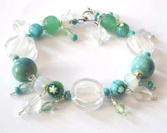Lampwork Art Glass Bracelet, Millefiori Beads, Boro Glass, Ceramic Beads, Sterling Silver, Green Blue Sea and Sky Colors