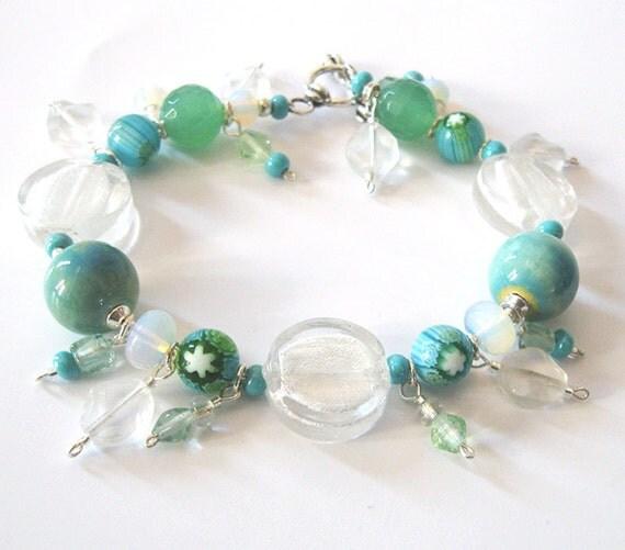 Lampwork Art Glass Bracelet, Millefiori Beads, Boro Glass, Ceramic Beads, Sterling Silver, Sea and Sky Colors