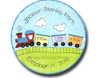 11 inch Personalized Birth Announcement New Baby Plate - Baby Train Design