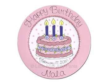 11 inch Personalized Birthday Plate - Floral Birthday Cake Design