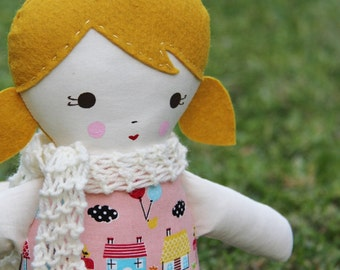 SALE Lil Sister Sprinkles Blonde Hair Handmade Rag Doll (hello friends print) With Knitted Scarf